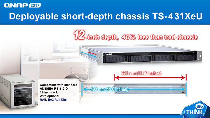 Deployable short-depth chassis TS-431XeU